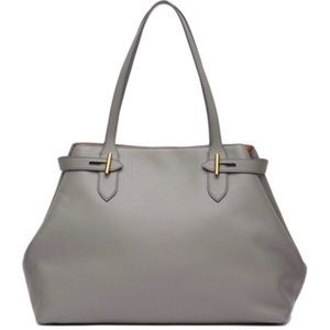 Anne Klein Collection Grey Leather Belted Tote Bag